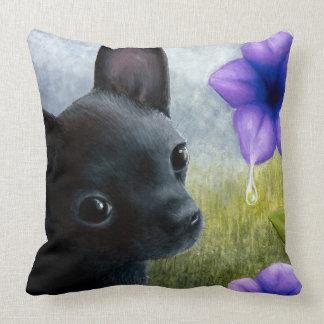 Dog 94 black Chihuahua Throw Pillow
