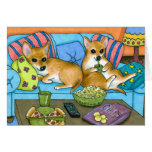Dog 99 funny Chihuahua watching TV Greeting Cards