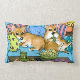 Dog 99 funny Chihuahua watching TV Lumbar Pillow