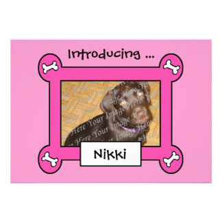 Dog Adoption or Birth Announcements (Pink)