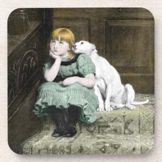 Dog Adoring Girl Coaster