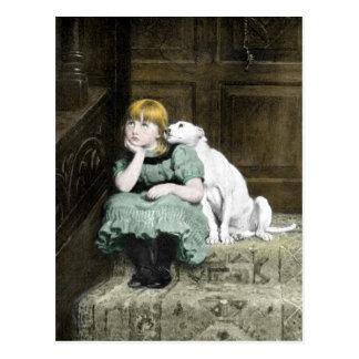 Dog Adoring Girl Postcard