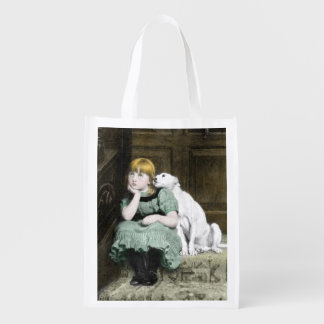Dog Adoring Girl Reusable Grocery Bags