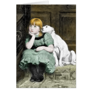 Dog Adoring Girl Victorian Painting Card