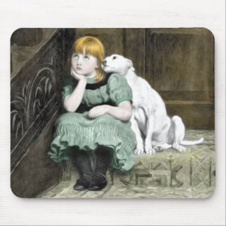 Dog Adoring Girl Victorian Painting Mouse Pad