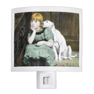 Dog Adoring Girl Victorian Painting Night Light