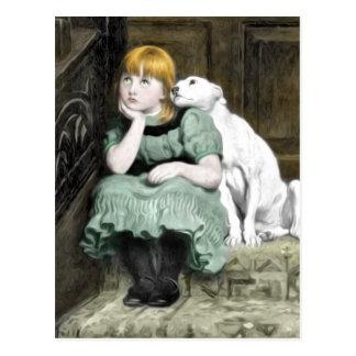Dog Adoring Girl Victorian Painting Postcard