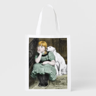 Dog Adoring Girl Victorian Painting Reusable Grocery Bags