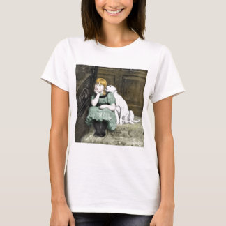 Dog Adoring Girl Victorian Painting T-Shirt