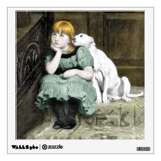 Dog Adoring Girl Victorian Painting Wall Decal