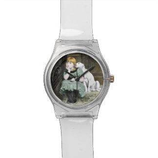 Dog Adoring Girl Victorian Painting Wristwatch