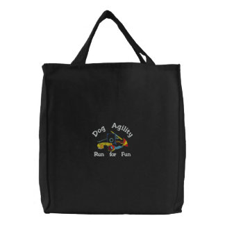 Dog Agility Run for Fun Dark Embroidered Bag