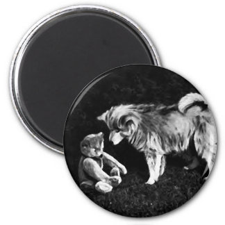 Dog and a Bear 2 Inch Round Magnet