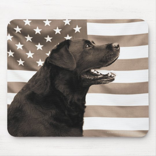 Dog and American flag Mouse Pad