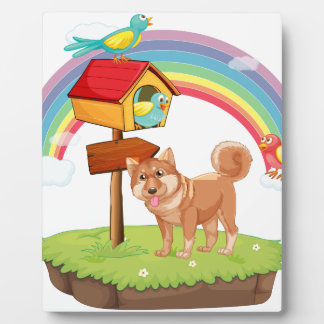 Dog and birdhouse photo plaques