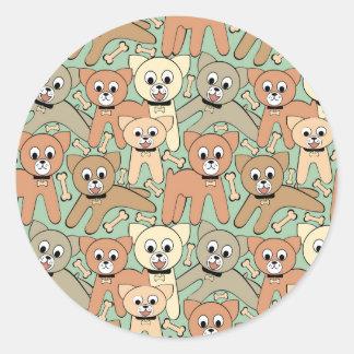 Dog and bone classic round sticker