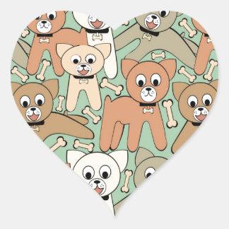 Dog and bone heart sticker