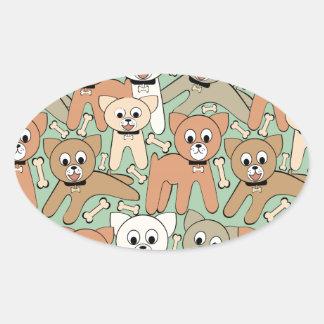Dog and bone oval sticker