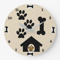 Dog And Bone Round Wall Clock