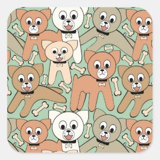 Dog and bone square sticker