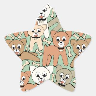 Dog and bone star sticker