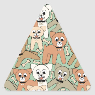 Dog and bone triangle sticker