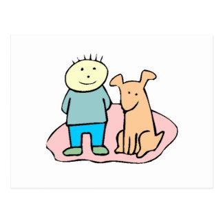 Dog And Boy Postcard