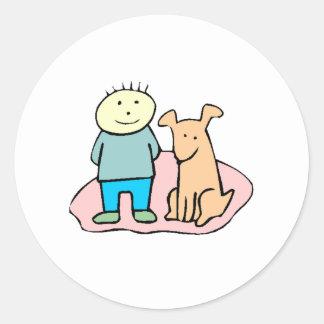 Dog And Boy Classic Round Sticker