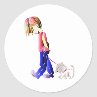 Dog and Boy Walking Digital Art Classic Round Sticker