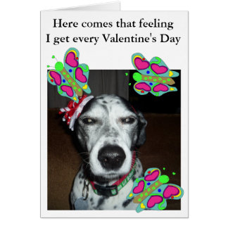 Dog and Butterflies Valentine Card