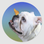Dog and butterfly classic round sticker