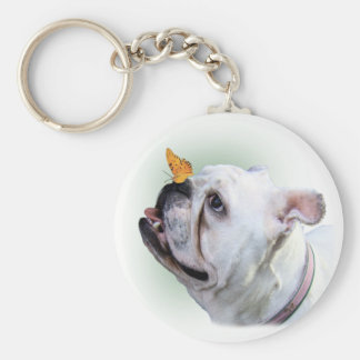 Dog and Butterfly Keychain