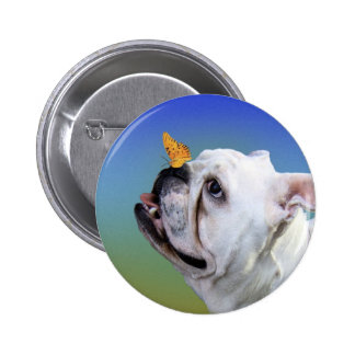 Dog and butterfly pinback button