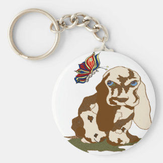 dog and Butterfly transprt gif Basic Round Button Keychain