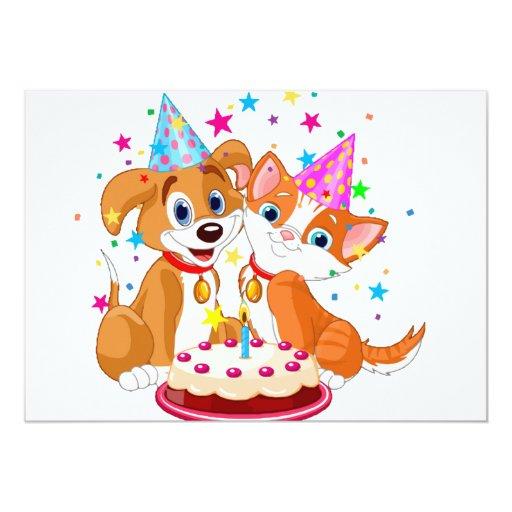 Dog and Cat Birthday Celebration 5x7 Paper Invitation Card