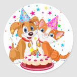 Dog and Cat Birthday Celebration Classic Round Sticker