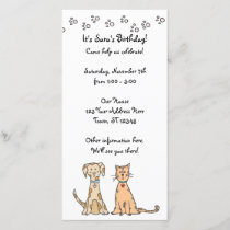 Dog and Cat Birthday Invitation