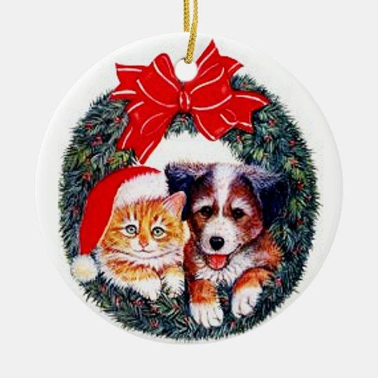 Dog and Cat Christmas Ornament | Zazzle.com