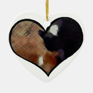 Dog and Cat Embrace in a Heart Shaped Yin Yang Ceramic Ornament