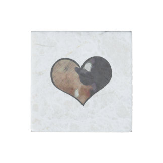 Dog and Cat Embrace in a Heart Shaped Yin Yang Stone Magnet