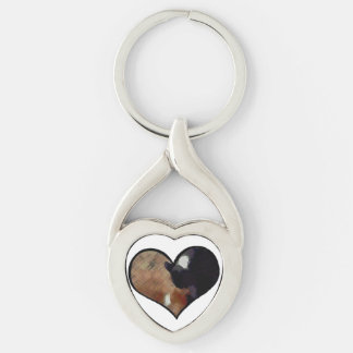 Dog and Cat Embrace in a Heart Shaped Yin Yang Keychain