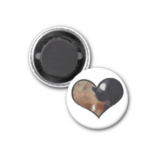 Dog and Cat Embrace in a Heart Shaped Yin Yang Fridge Magnet