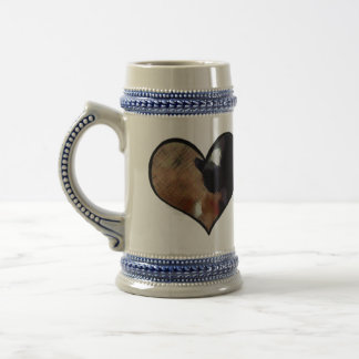 Dog and Cat Embrace in a Heart Shaped Yin Yang 18 Oz Beer Stein
