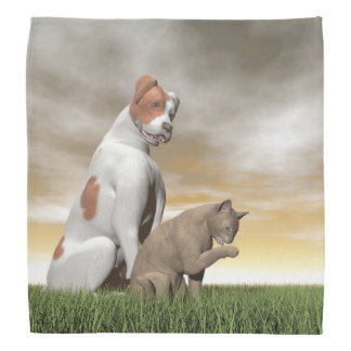 Dog and cat friendship - 3D render Bandana