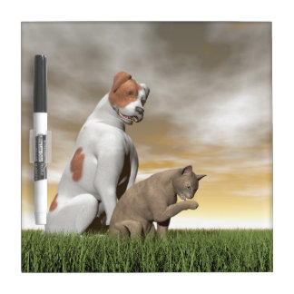 Dog and cat friendship - 3D render Dry-Erase Board