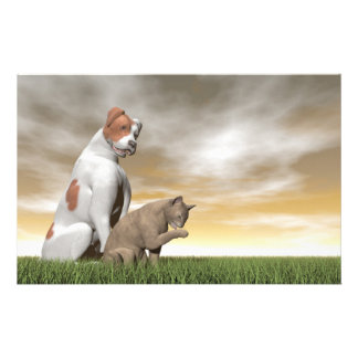 Dog and cat friendship - 3D render Stationery