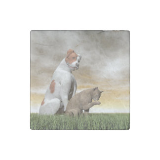Dog and cat friendship - 3D render Stone Magnet