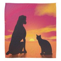 Dog and cat friendship at sunset bandana