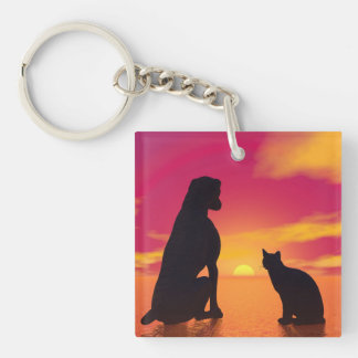 Dog and cat friendship at sunset keychain