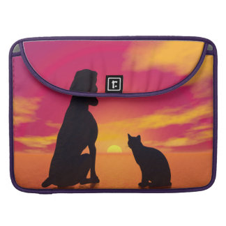 Dog and cat friendship at sunset sleeve for MacBooks